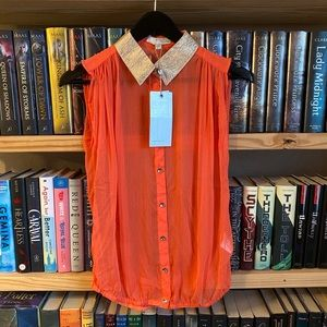New Vero Moda Classics Semi Sheer Orange Shirt